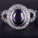 Gold filled, 14k overlay, 3 TCW purple amethyst, pavé white topaz, fashion ring