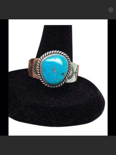 Natural Blue Turquoise, Unisex, Sterling Silver Designer Fashion Ring
