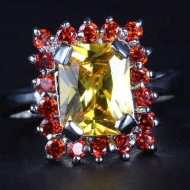 4.00ctw LARGE, gold filled, 14k overlay, citrine, garnet fashion, statement ring