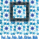FLOWERY TURQUOISE DESIGN ACCENT TILE 4in X 4in, in Antique Looking Ceramic Tiles