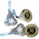 108 Happy 50th Birthday Hershey Kiss Labels Stickers Party Favors, Gift Bags