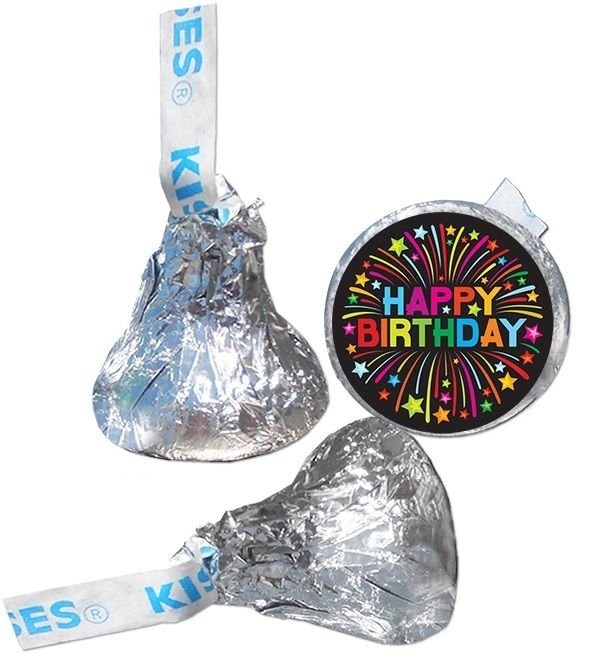 108 Happy Birthday Hershey Kiss Labels Stickers Party Favors, Gift Bags