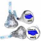 GRADUATION PARTY SUPPLIES 108 HERSHEY KISS KISSES LABELS Class of 2017 Blue Cap