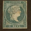 1855 SPAIN STAMP SC#38 Queen Isabella II 1r Watermark 104 Blue Paper MH cv $1300