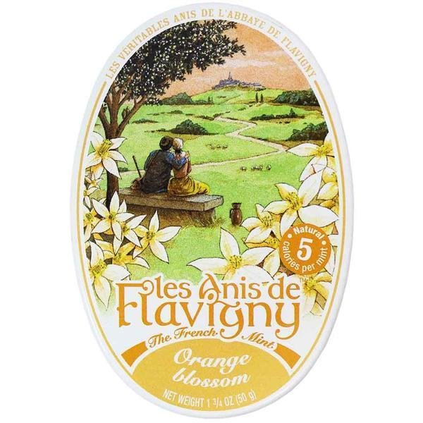Les Anis de Flavigny Candy Orange Blossom, 1.75 oz Oval Tin From France