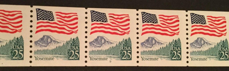 US. SC 2280 Flag & Yosemite Coil PNC5 Pl#9. Mint. NH