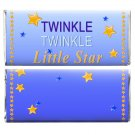Twinkle Twinkle Little Star Boy 12 Personalized Baby Shower Candy Wrappers Blue