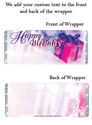 Birthday Party Supplies 12 Personalized Candy Wrappers for Hershey Chocolate Bar