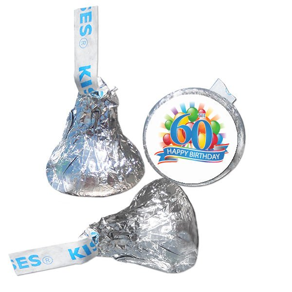 60th Birthday Party Supplies Hershey Kiss Labels Stickers Personalized Favors