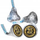108 Happy 25th Birthday Hershey Kiss Labels Stickers Party Favors, Gift Bags
