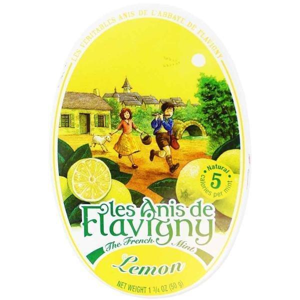 Les Anis de Flavigny Candy Lemon Drops, 1.75 oz Oval Tin From France