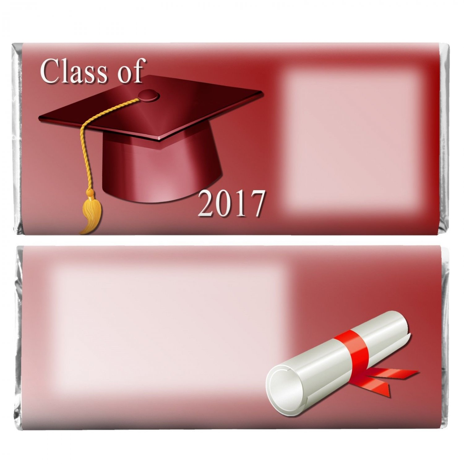 Graduation Party Supplies 12 Personalized Hershey Candy Bar Wrappers Burgundy