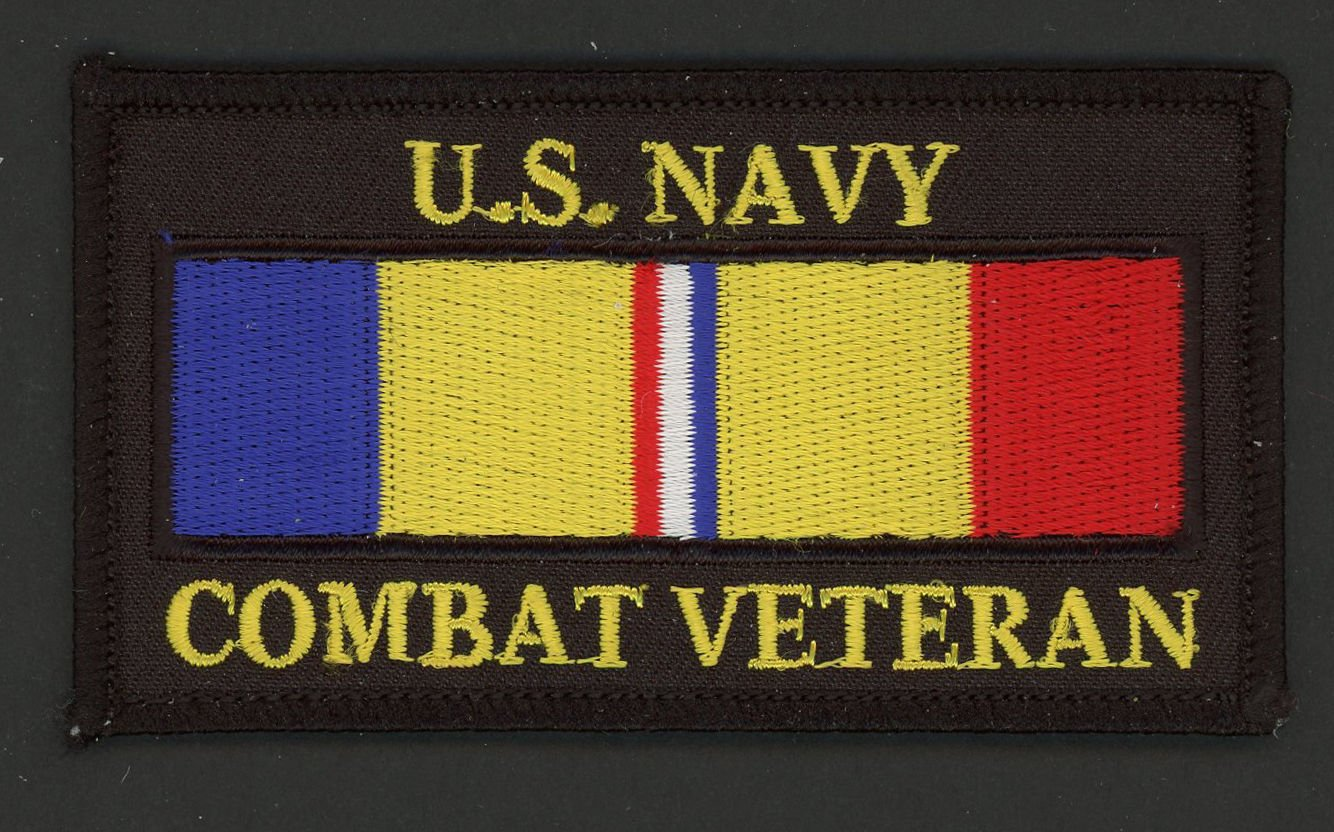 """US NAVY COMBAT ACTION RIBBON VETERAN HAT PATCH MILITARY BADGE PIN UP USS FMF 4"""""""