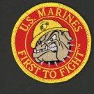 "US MARINES FIRST TO FIGHT 3"" PATCH BULLDOG VIETNAM OEF OIF PIN UP VET IRON-ON"