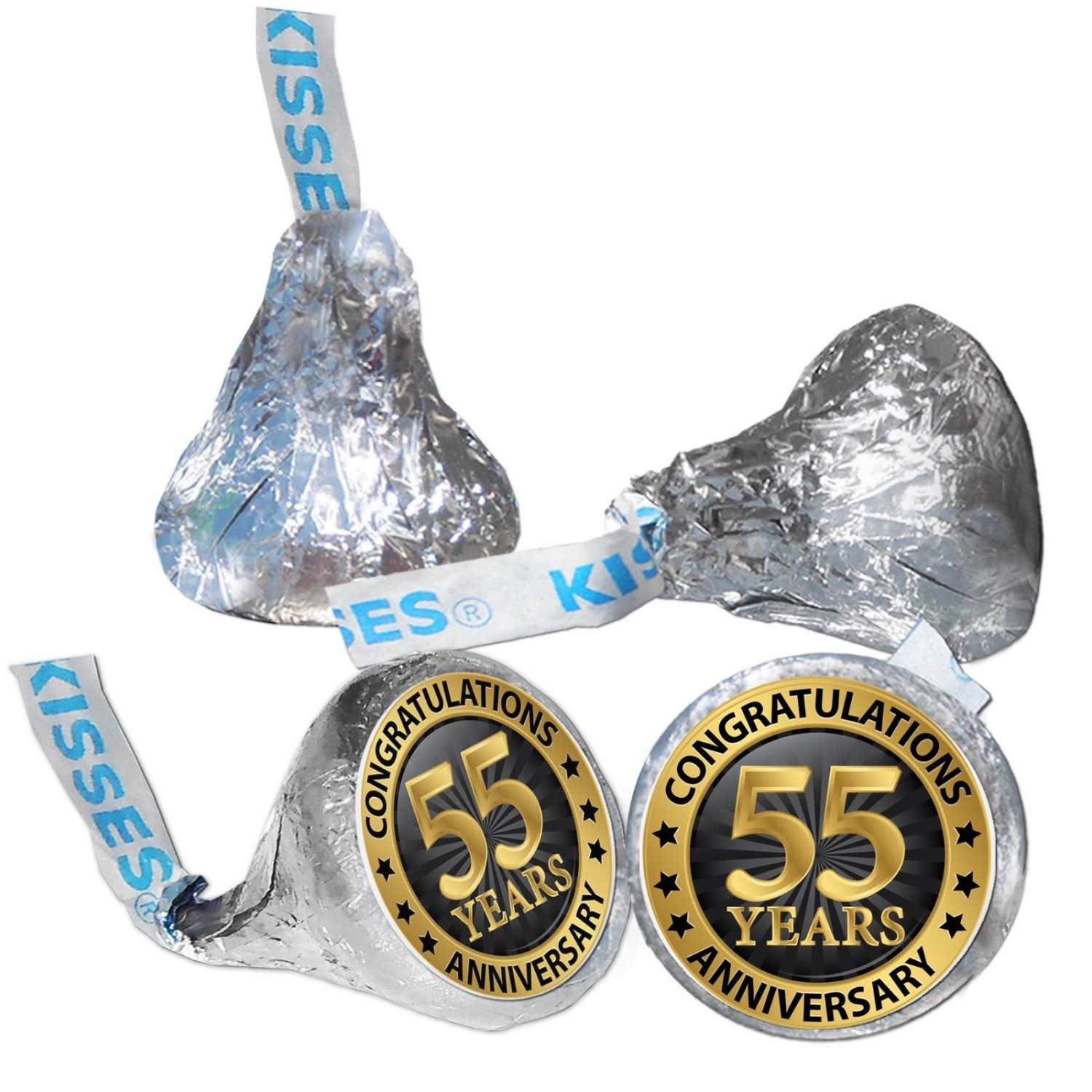 55th Anniversary Hershey Kisses Kiss Labels Stickers for Party Favor 108 Labels