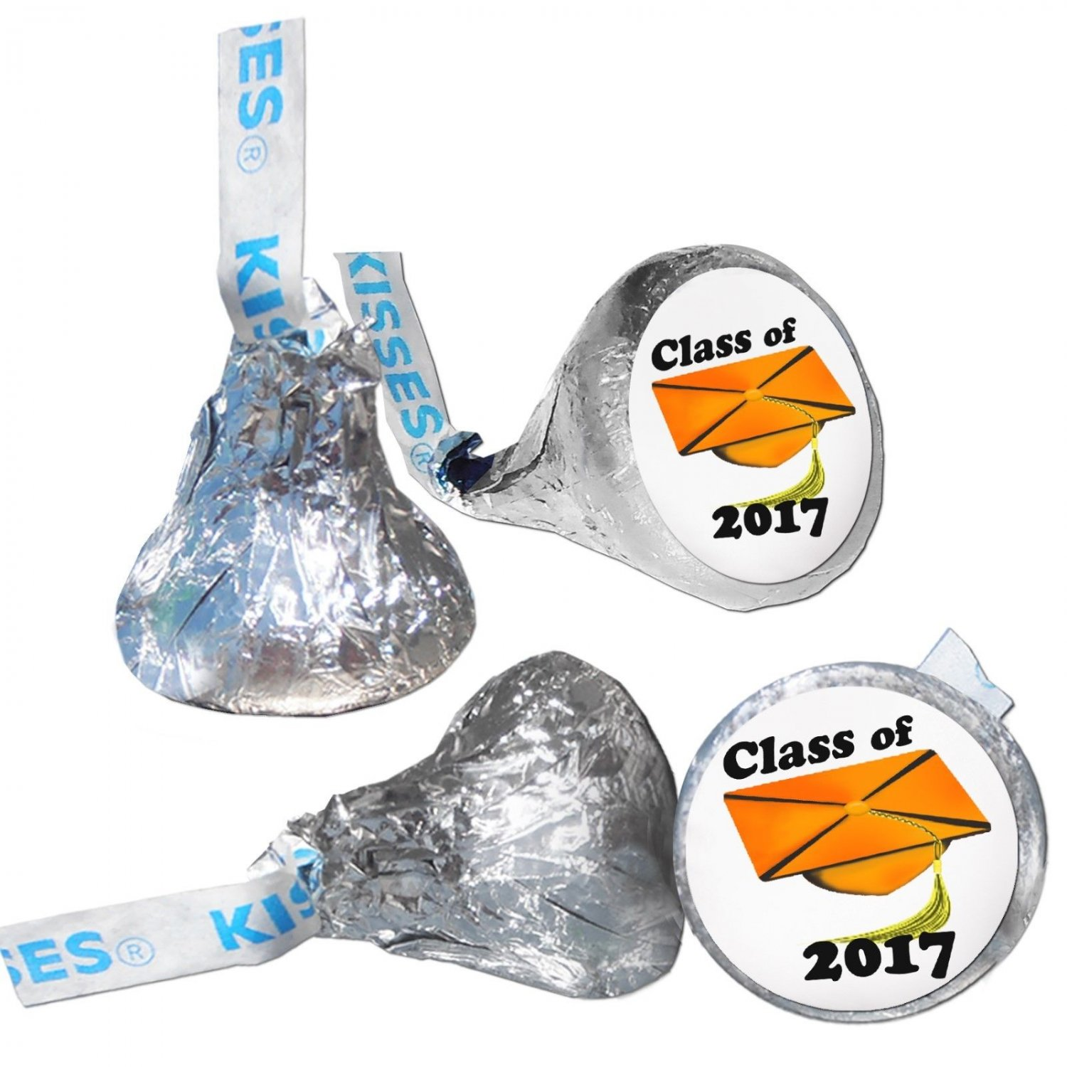 GRADUATION PARTY SUPPLIES 108 HERSHEY KISSES LABELS Class of 2017 Orange Cap