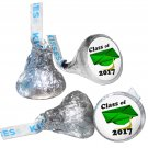 GRADUATION PARTY SUPPLIES 108 HERSHEY KISS KISSES LABELS Class of 2017 Green Cap