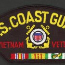 "U. S. Coast Guard Vietnam Veteran Embroidered Hat Patch USCG Biker 3"" x 5 1/4"""