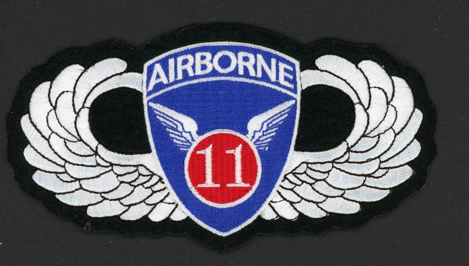 """US Army Military Large Patch 11th Airborne Wings  6 1/2"""" x  3 1/2"""" Embroidered"""