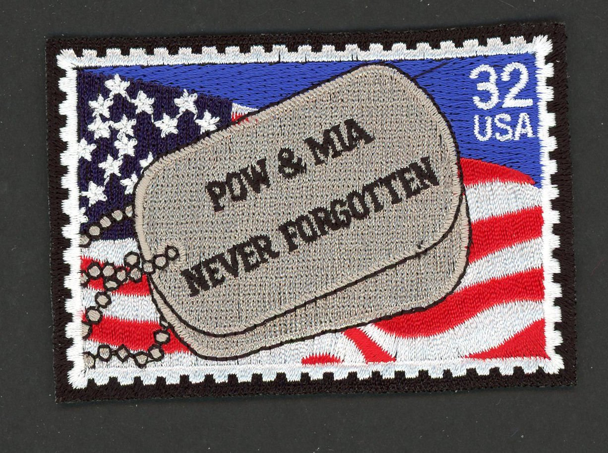 POW MIA Dog Tags Never Forgotten Embroidered Patch of US SC# 2966 Postage Stamp