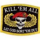 """KILL 'EM ALL LET GOD SORT 'EM OUT SKULL MOTORCYCLE BIKER MILITARY PATCH 3 3/8"""""""