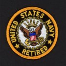 """U.S. Navy Retired Embroidered Iron-On Patch [3"""" Round]"""