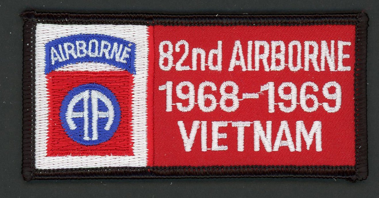 "U.S. US Army Iron On Patch Vietnam Veteran 82nd Airborne 1968 - 1969 4"" x 2"""