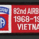 "U.S. US Army Iron On Patch Vietnam Veteran 82nd Airborne 1968 - 1969 4"" x 2"""