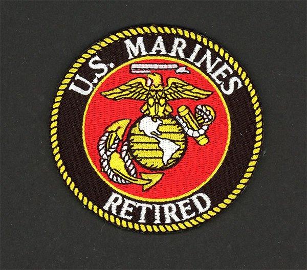 "U. S. MARINE CORPS USMC RETIRED EMBROIDERED PATCH SEMPER FI SEW/ IRON ON 3"""