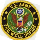 "US ARMY PATCH, THIS WE'LL DEFEND EMBROIDERED IRON ARMY INSIGNIA 3"", HAT VEST"