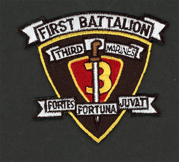 "1ST BATTALION 3RD MARINES 3"" HAT PATCH US MARINES PIN UP 3RD MAR DIV MCB HAWAII"