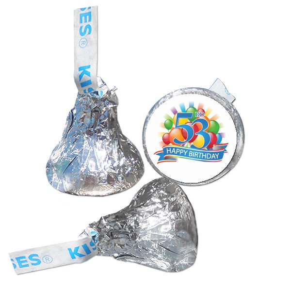 53rd Birthday Party Supplies Hershey Kiss Labels Stickers Personalized Favors