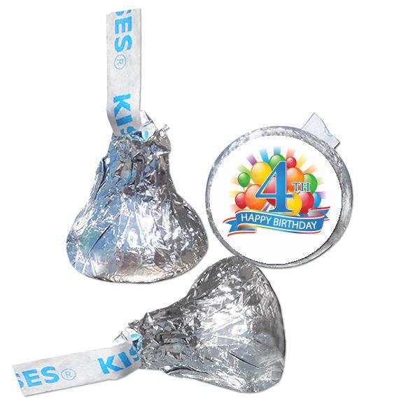 4th Birthday Party Supplies Hershey Kiss Labels Stickers Personalized Favors
