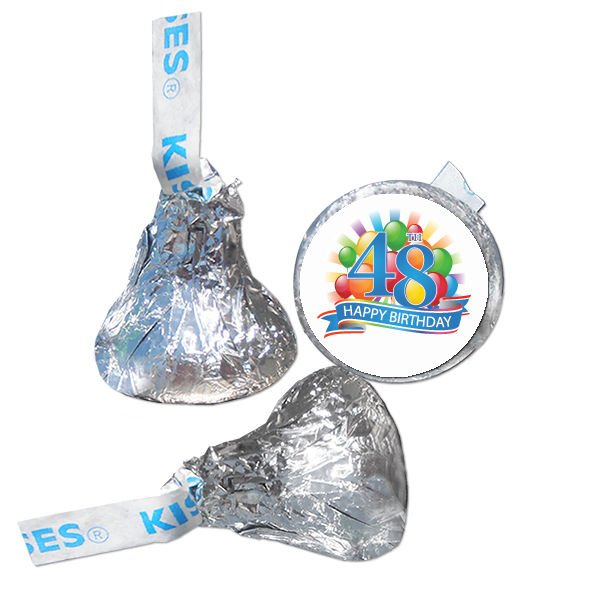 48th Birthday Party Supplies Hershey Kiss Labels Stickers Personalized Favors