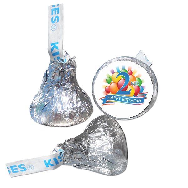 2nd Birthday Party Supplies Hershey Kiss Labels Stickers Personalized Favors