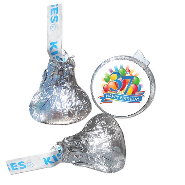 37th Birthday Party Supplies Hershey Kiss Labels Stickers Personalized Favors