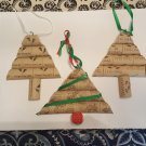Handmade Christmas Tree Ornaments - Cork and Ribbon (3) Very Nice
