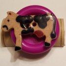 Cow on Purple Button - Cork Art Pin - Premium Clasp