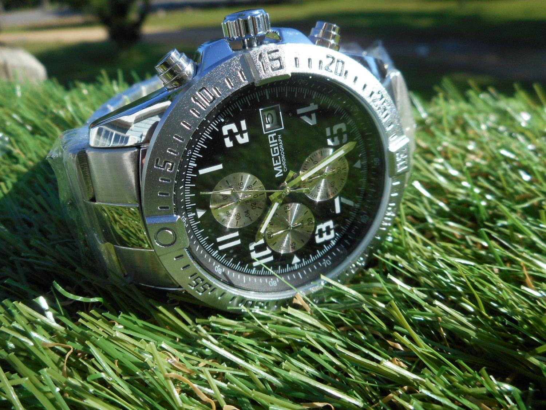 Megir 45mm chronograph stainless steel bracelet