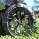 Megir 45mm chronograph black stainless steel bracelet