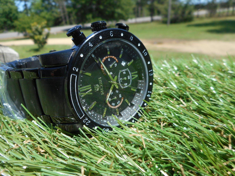Megir 46mm black dial men's chronograph stainless steel bracelet
