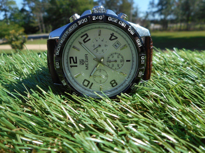 Megir men's chronograph 41mm brown leather strap
