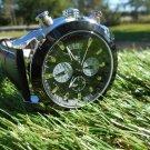 Megir black dial chronograph black leather strap