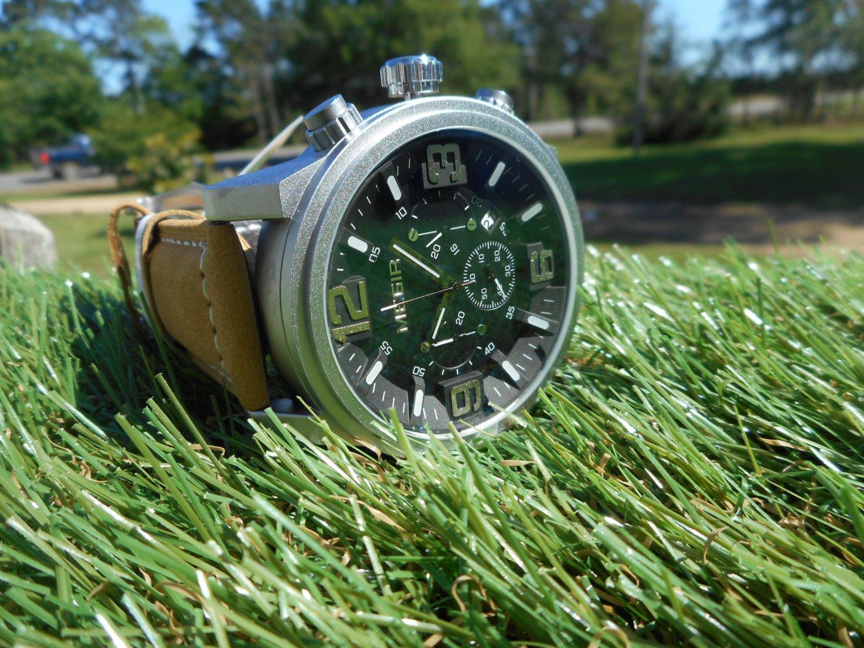 Megir Military 45mm Men's Chronograph Leather Strap