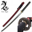 Ten Ryu Japanese Dragon Katana W/ Red Saya