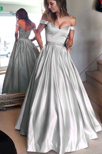 Gray satins off shoulder long prom dress long formal dress