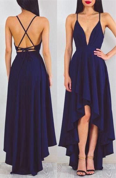 High Low Prom Dress,Fashion Prom Dress,Backless Prom Dress