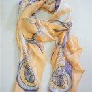 renoma 100% pure silk yellow pocket watch printed women men long scarves P611521