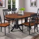 SOMERVILLE OVAL DINETTE DINING ROOM TABLE SET IN BLACK & CHERRY