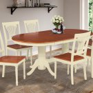 7-PC OVAL DINING ROOM TABLE SET w/ 6 CHAIRS IN BUTTERMILK & CHERRY